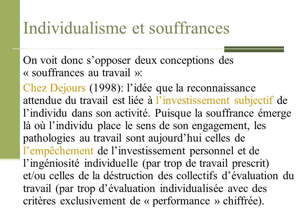 Individualisme et souffrances On voit donc s'opposer deux conceptions des « souffrances au travail »: Chez Dejours (1998): l'idée que la reconnaissanc