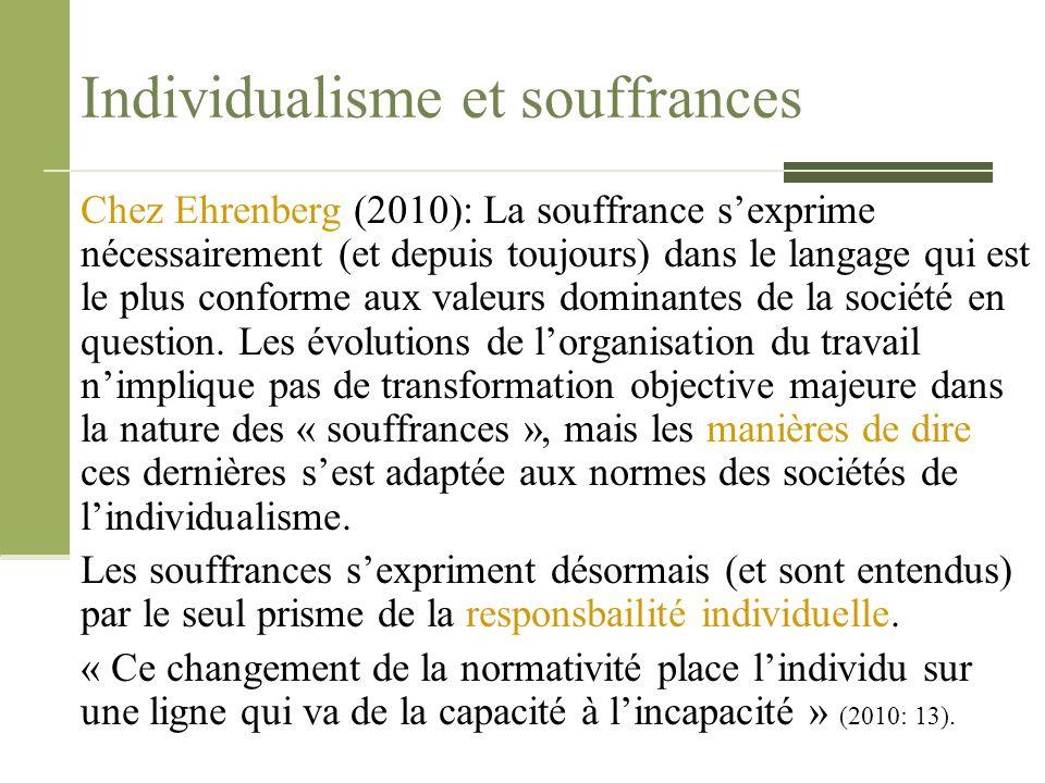 Individualisme et souffrances Chez Ehrenberg (2010): La souffrance s'exprime nécessairement (et depuis toujours) dans le langage qui est le plus confo