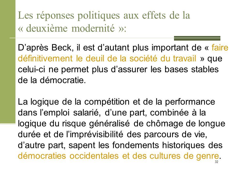 Les réponses politiques aux effets de la « deuxième modernité »: D'après Beck, il est d'autant plus important de « faire définitivement le deuil de la