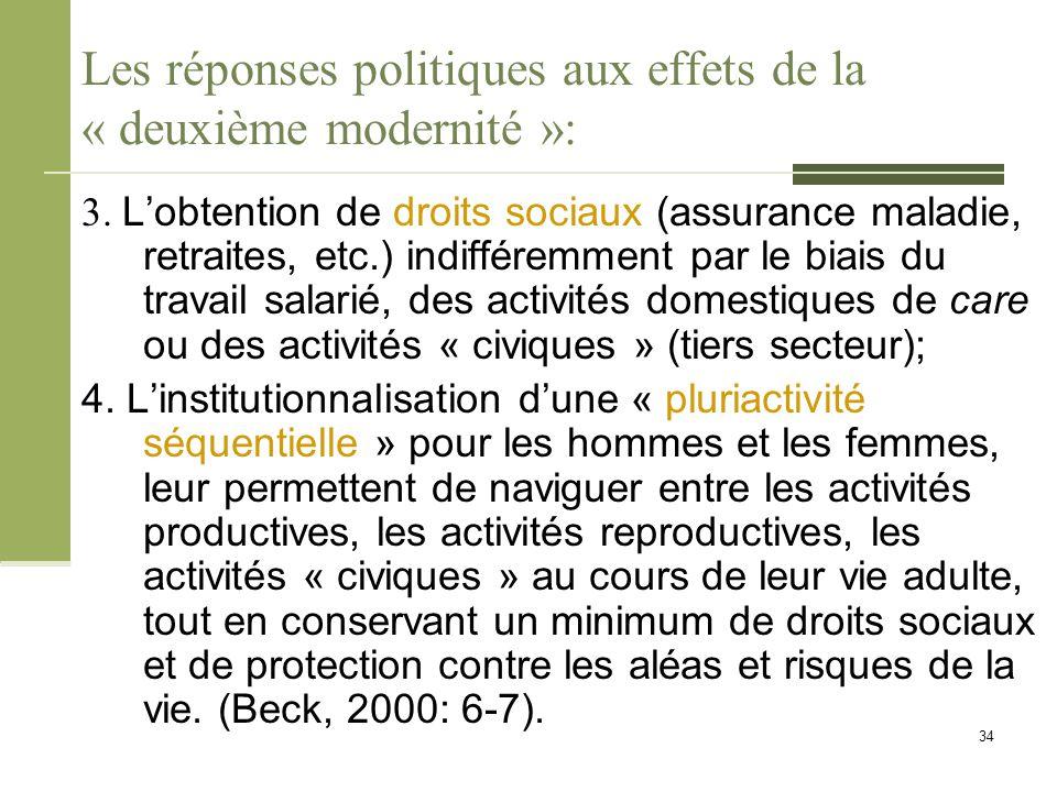 Les réponses politiques aux effets de la « deuxième modernité »: 3. L'obtention de droits sociaux (assurance maladie, retraites, etc.) indifféremment