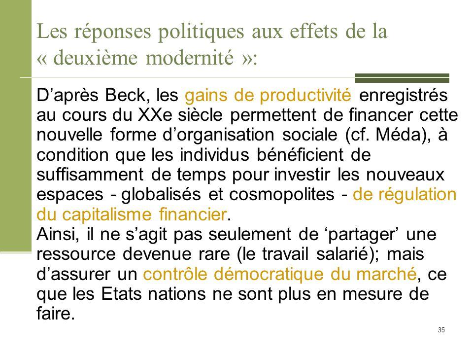 Les réponses politiques aux effets de la « deuxième modernité »: D'après Beck, les gains de productivité enregistrés au cours du XXe siècle permettent