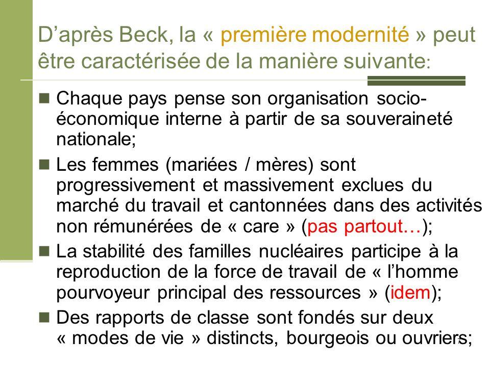 D'après Beck, la « première modernité » peut être caractérisée de la manière suivante : Chaque pays pense son organisation socio- économique interne à