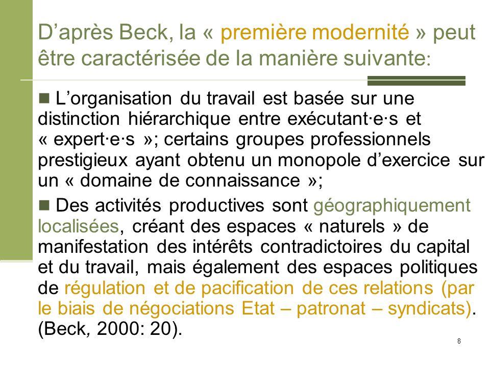 D'après Beck, la « première modernité » peut être caractérisée de la manière suivante : L'organisation du travail est basée sur une distinction hiérar