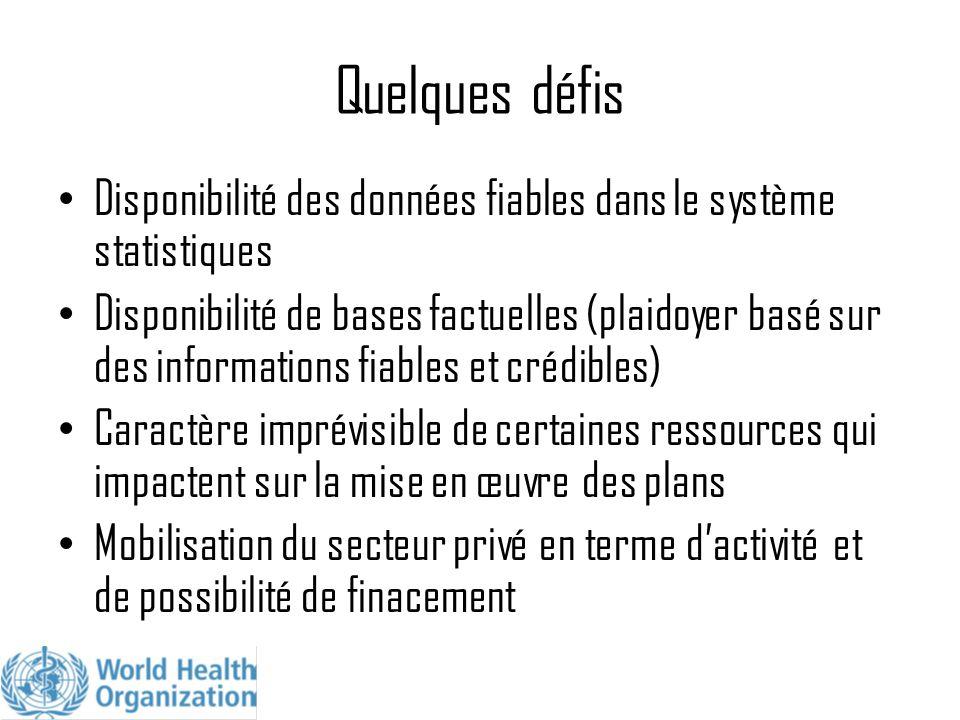 Quelques défis Disponibilité des données fiables dans le système statistiques Disponibilité de bases factuelles (plaidoyer basé sur des informations f