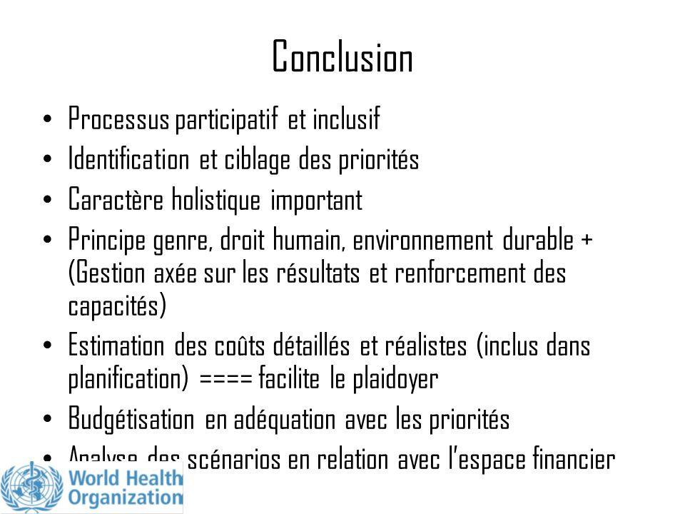 Conclusion Processus participatif et inclusif Identification et ciblage des priorités Caractère holistique important Principe genre, droit humain, env