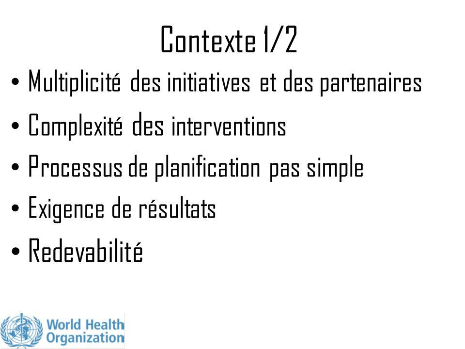 Contexte 1/2 Multiplicité des initiatives et des partenaires Complexité des interventions Processus de planification pas simple Exigence de résultats