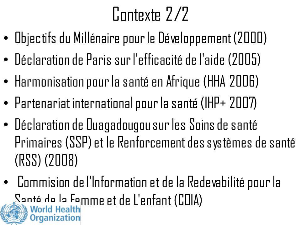 Contexte 2/2 Objectifs du Millénaire pour le Développement (2000) Déclaration de Paris sur l'efficacité de l'aide (2005) Harmonisation pour la santé e