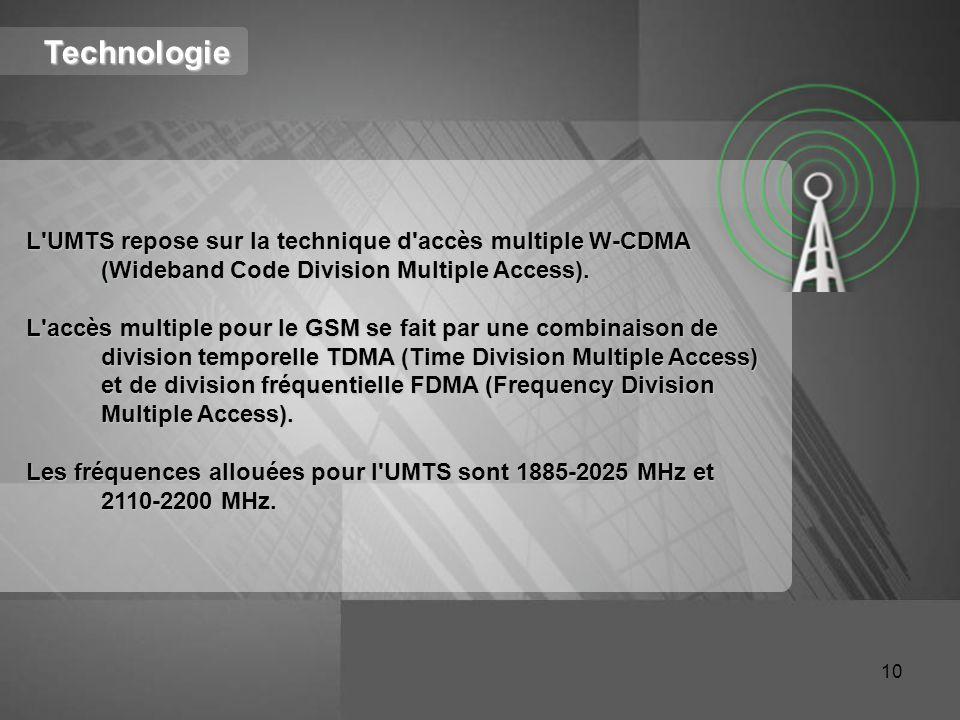 Technologie L'UMTS repose sur la technique d'accès multiple W-CDMA (Wideband Code Division Multiple Access). L'accès multiple pour le GSM se fait par