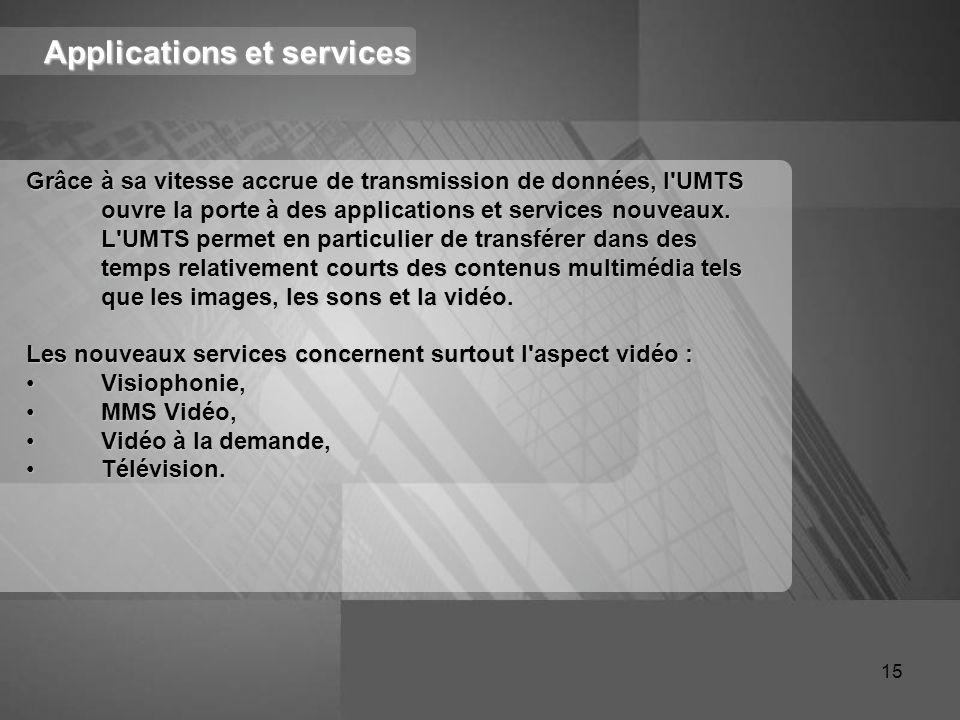 Applications et services Grâce à sa vitesse accrue de transmission de données, l'UMTS ouvre la porte à des applications et services nouveaux. L'UMTS p