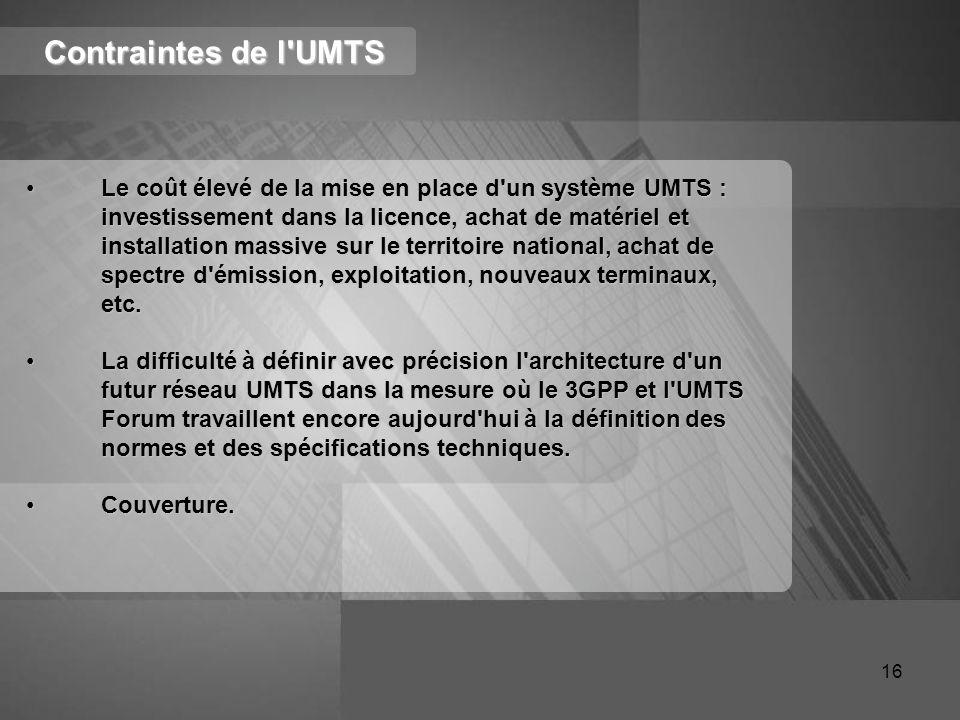 Contraintes de l'UMTS Le coût élevé de la mise en place d'un système UMTS : investissement dans la licence, achat de matériel et installation massive