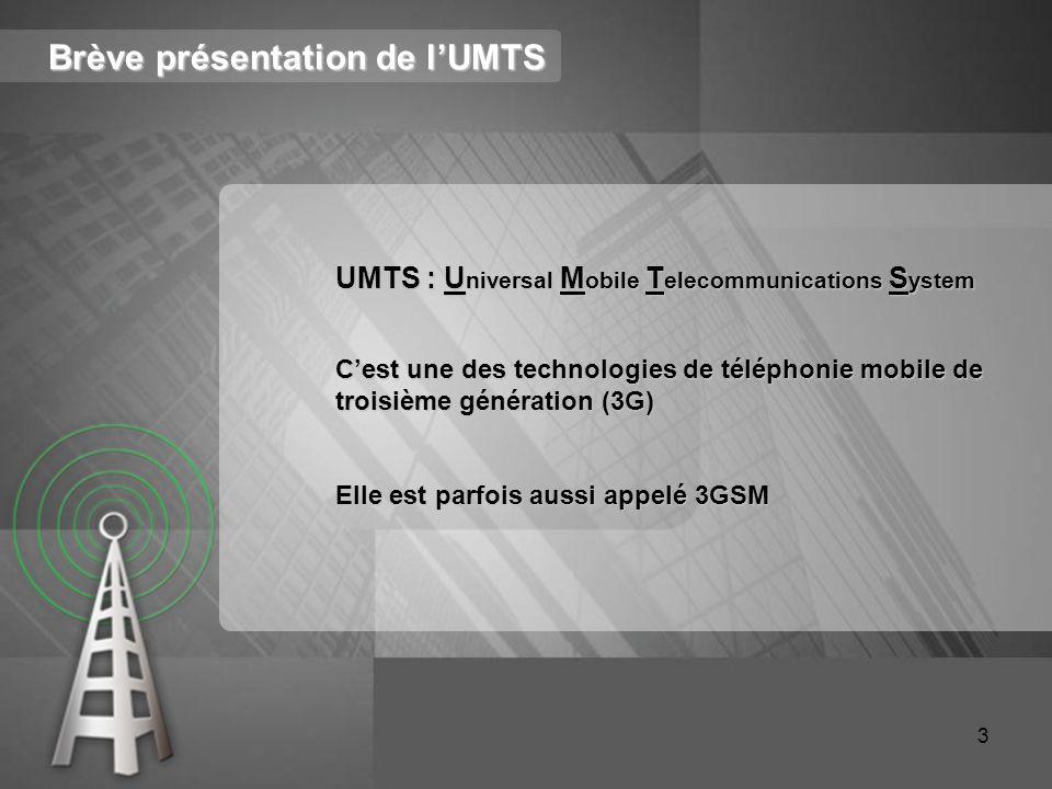 Brève présentation de l'UMTS UMTS : U niversal M obile T elecommunications S ystem C'est une des technologies de téléphonie mobile de troisième généra