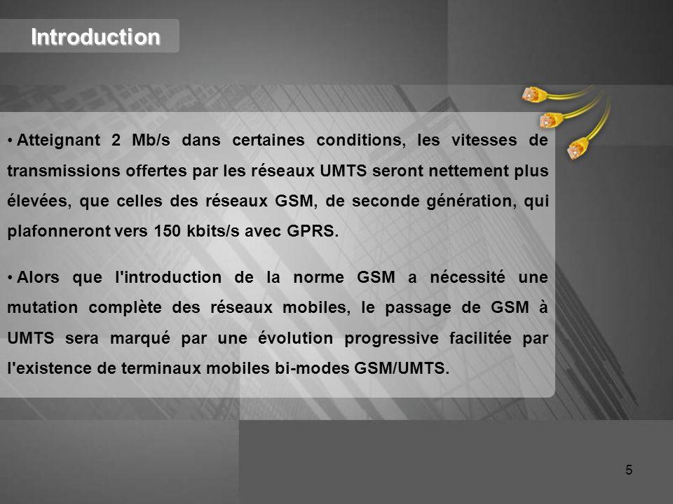 Introduction Atteignant 2 Mb/s dans certaines conditions, les vitesses de transmissions offertes par les réseaux UMTS seront nettement plus élevées, q