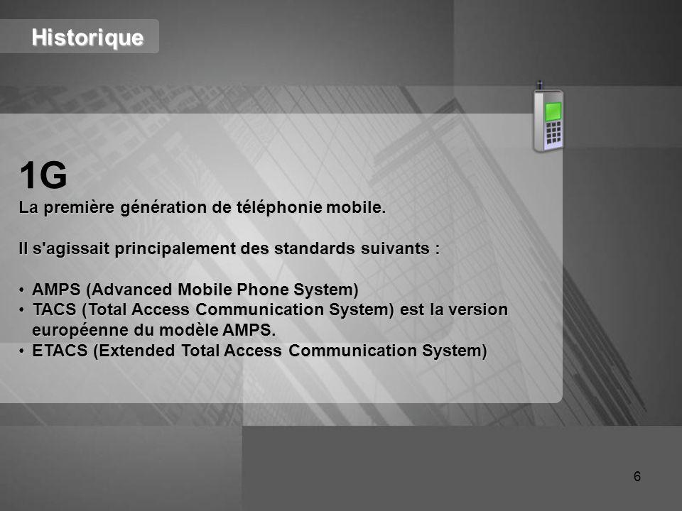 Historique 1G La première génération de téléphonie mobile. Il s'agissait principalement des standards suivants : AMPS (Advanced Mobile Phone System)AM