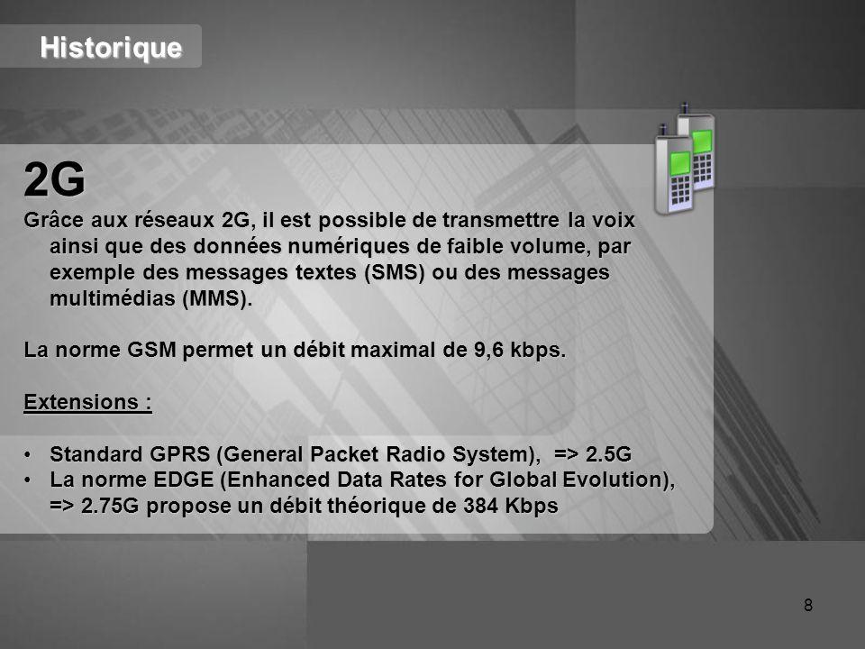 Historique 2G Grâce aux réseaux 2G, il est possible de transmettre la voix ainsi que des données numériques de faible volume, par exemple des messages