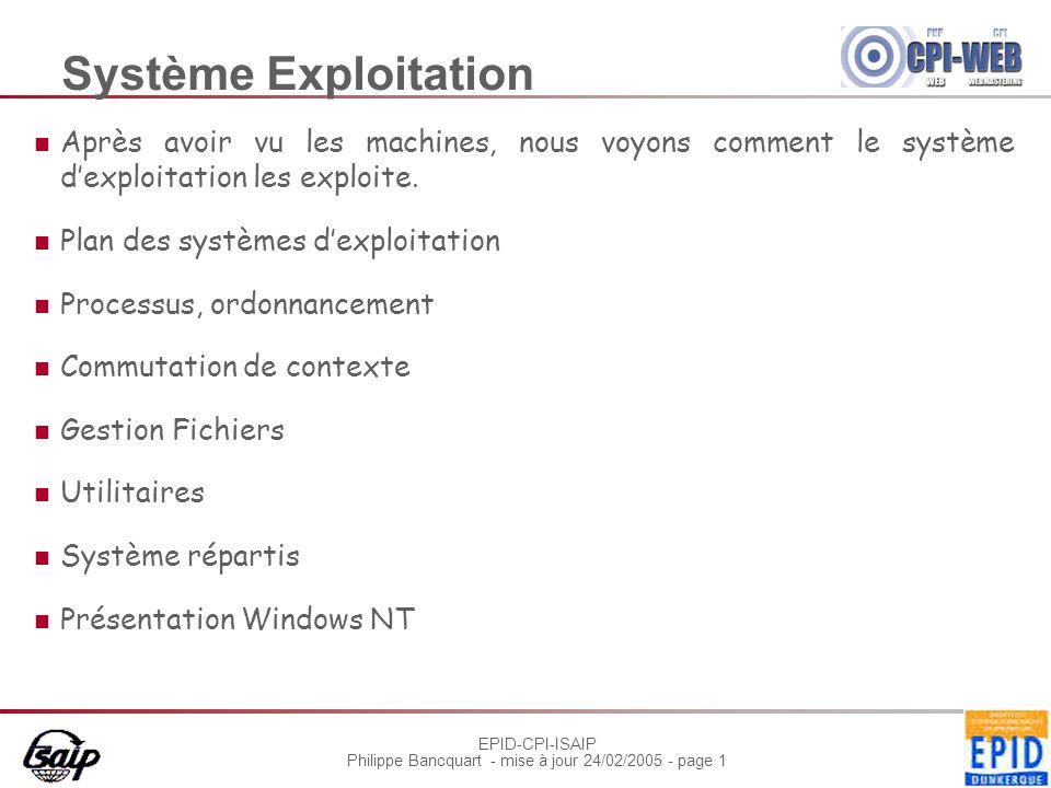 EPID-CPI-ISAIP Philippe Bancquart - mise à jour 24/02/2005 - page 22 Sous quelle forme se présente le BIOS En général, une ROM Utilise une partie de la RAM Gère une mémoire CMOS rémanente Décrit la configuration du système Tous les BIOS sont différents : cartes mères, périphériques, bus, constructeur…