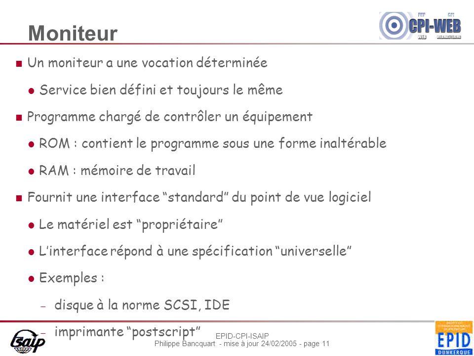 EPID-CPI-ISAIP Philippe Bancquart - mise à jour 24/02/2005 - page 11 Moniteur Un moniteur a une vocation déterminée Service bien défini et toujours le
