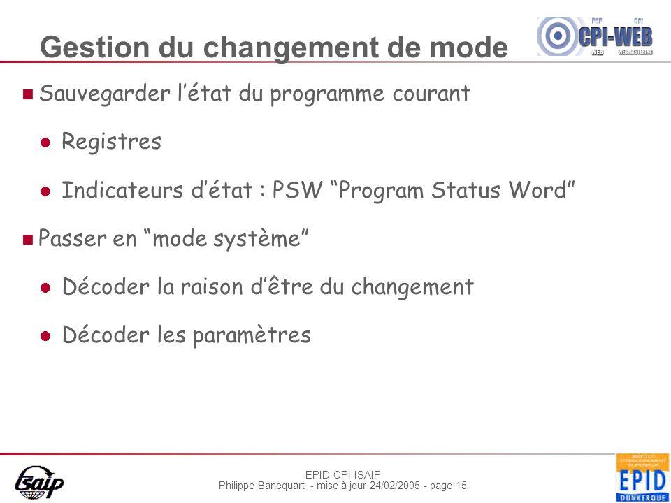 EPID-CPI-ISAIP Philippe Bancquart - mise à jour 24/02/2005 - page 15 Gestion du changement de mode Sauvegarder l'état du programme courant Registres I