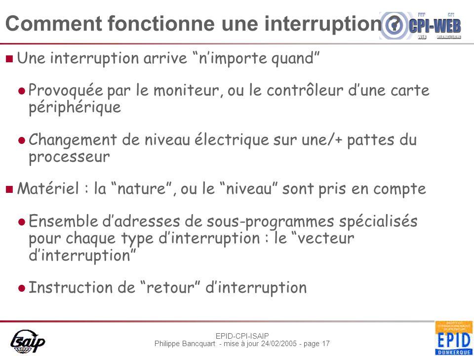"""EPID-CPI-ISAIP Philippe Bancquart - mise à jour 24/02/2005 - page 17 Comment fonctionne une interruption ? Une interruption arrive """"n'importe quand"""" P"""