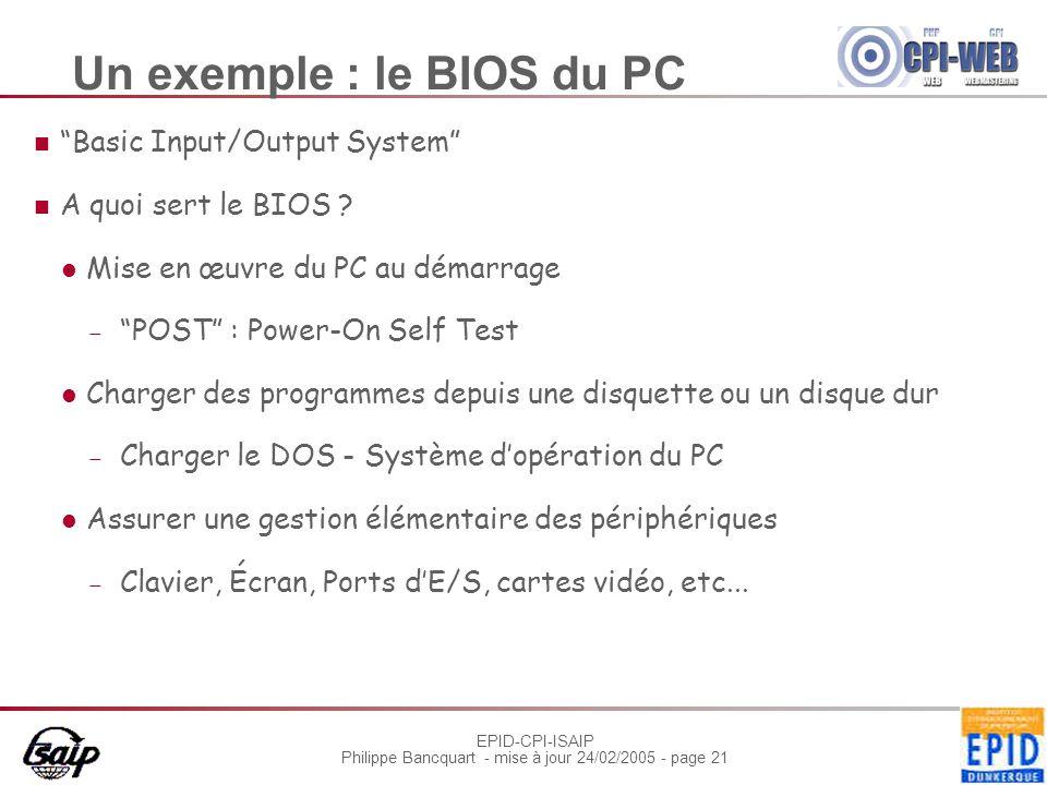 """EPID-CPI-ISAIP Philippe Bancquart - mise à jour 24/02/2005 - page 21 Un exemple : le BIOS du PC """"Basic Input/Output System"""" A quoi sert le BIOS ? Mise"""