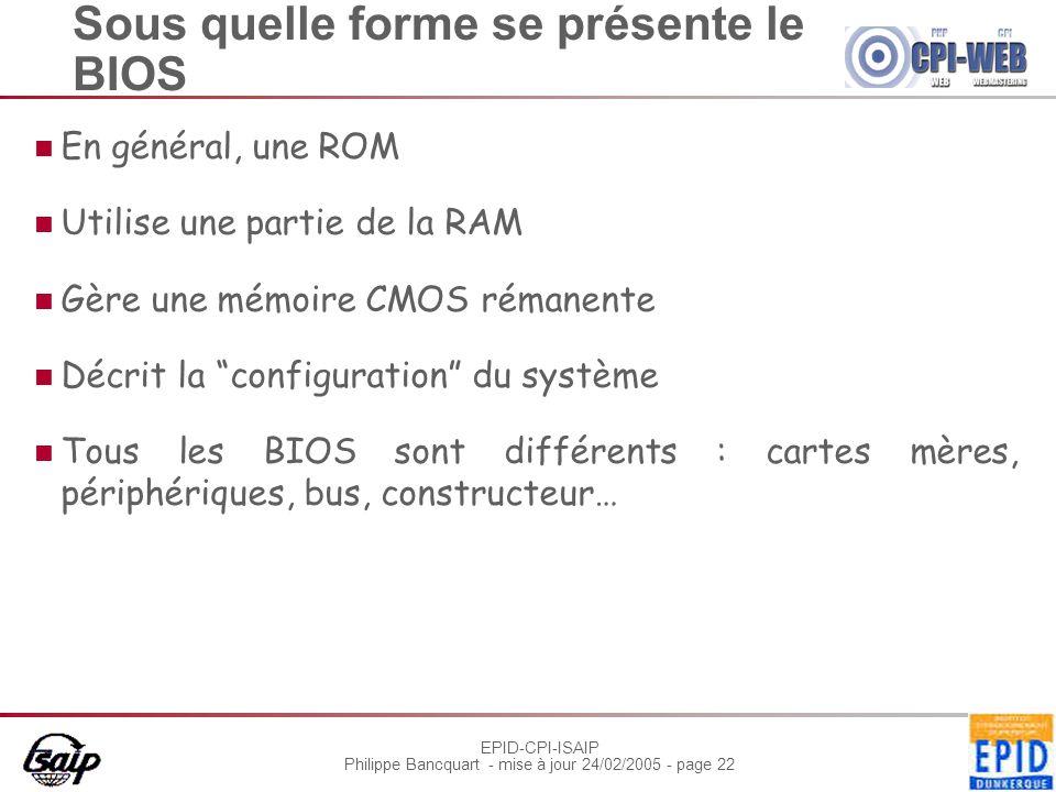 EPID-CPI-ISAIP Philippe Bancquart - mise à jour 24/02/2005 - page 22 Sous quelle forme se présente le BIOS En général, une ROM Utilise une partie de l