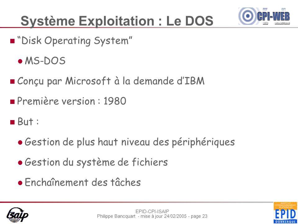 """EPID-CPI-ISAIP Philippe Bancquart - mise à jour 24/02/2005 - page 23 Système Exploitation : Le DOS """"Disk Operating System"""" MS-DOS Conçu par Microsoft"""