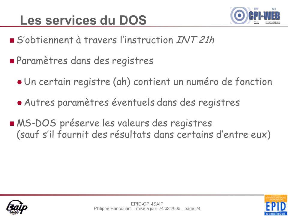 EPID-CPI-ISAIP Philippe Bancquart - mise à jour 24/02/2005 - page 24 Les services du DOS S'obtiennent à travers l'instruction INT 21h Paramètres dans