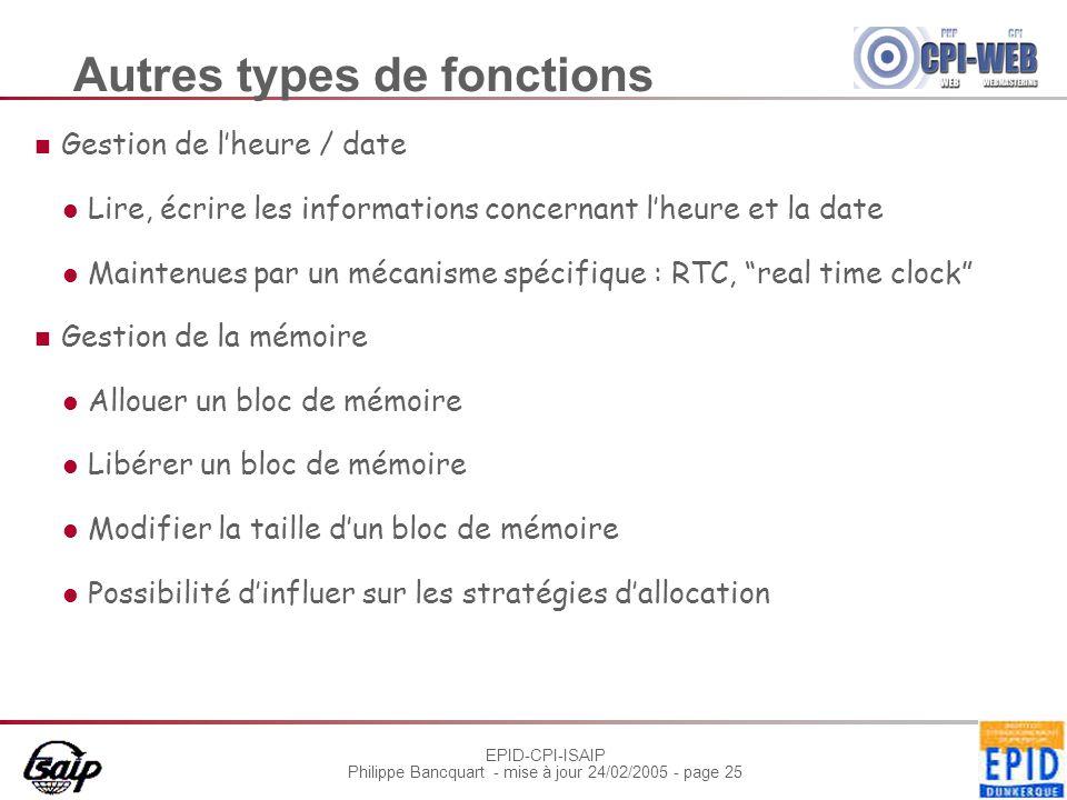 EPID-CPI-ISAIP Philippe Bancquart - mise à jour 24/02/2005 - page 25 Autres types de fonctions Gestion de l'heure / date Lire, écrire les informations