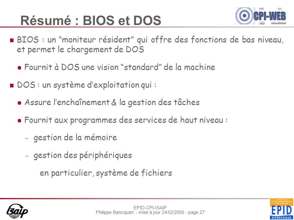"""EPID-CPI-ISAIP Philippe Bancquart - mise à jour 24/02/2005 - page 27 Résumé : BIOS et DOS BIOS : un """"moniteur résident"""" qui offre des fonctions de bas"""
