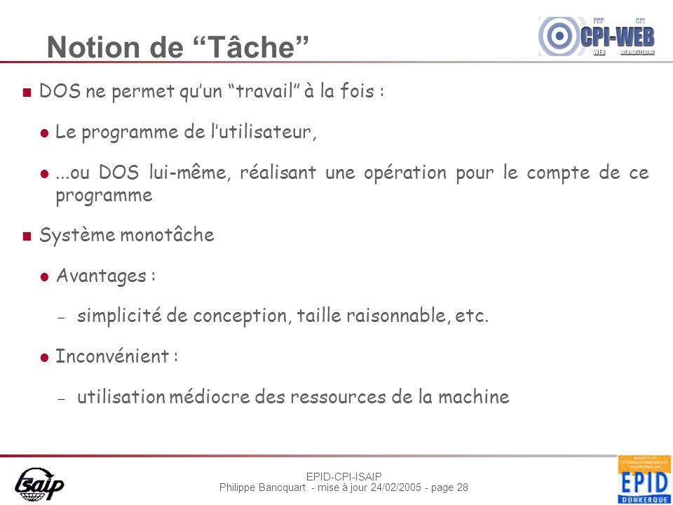 """EPID-CPI-ISAIP Philippe Bancquart - mise à jour 24/02/2005 - page 28 Notion de """"Tâche"""" DOS ne permet qu'un """"travail"""" à la fois : Le programme de l'uti"""