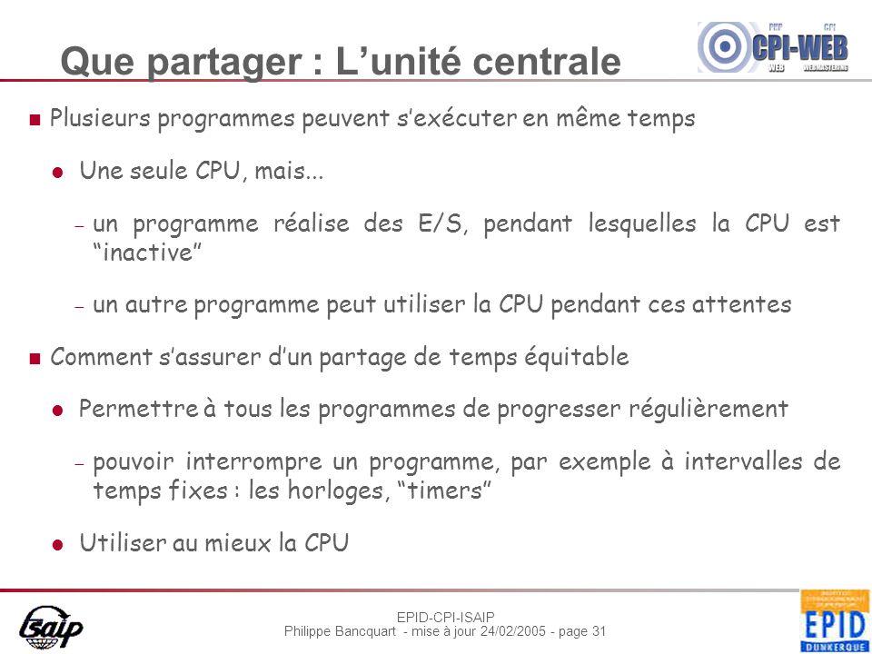 EPID-CPI-ISAIP Philippe Bancquart - mise à jour 24/02/2005 - page 31 Que partager : L'unité centrale Plusieurs programmes peuvent s'exécuter en même t