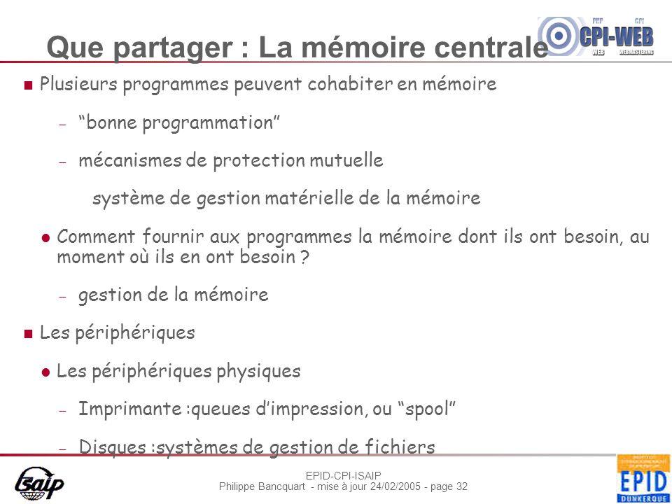 EPID-CPI-ISAIP Philippe Bancquart - mise à jour 24/02/2005 - page 32 Que partager : La mémoire centrale Plusieurs programmes peuvent cohabiter en mémo