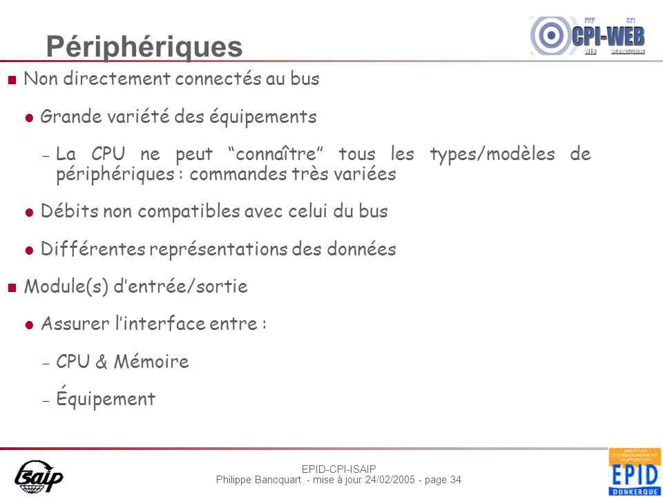 EPID-CPI-ISAIP Philippe Bancquart - mise à jour 24/02/2005 - page 34 Périphériques Non directement connectés au bus Grande variété des équipements  L