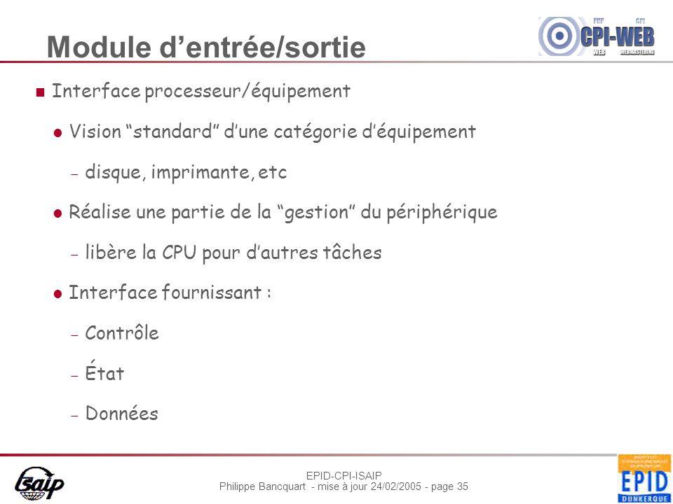 """EPID-CPI-ISAIP Philippe Bancquart - mise à jour 24/02/2005 - page 35 Module d'entrée/sortie Interface processeur/équipement Vision """"standard"""" d'une ca"""