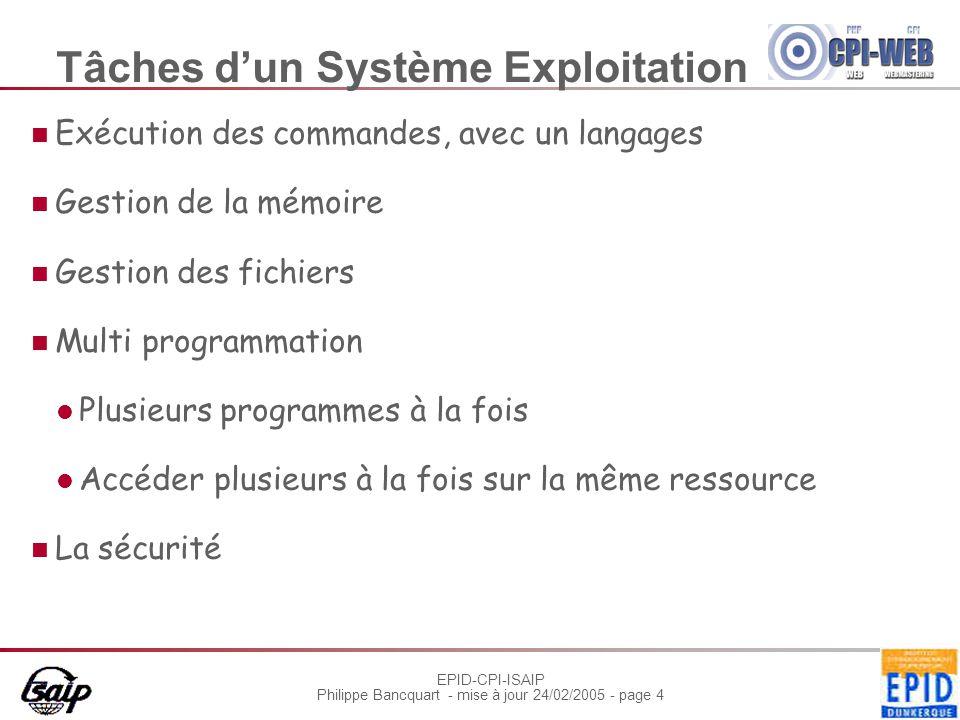 EPID-CPI-ISAIP Philippe Bancquart - mise à jour 24/02/2005 - page 4 Tâches d'un Système Exploitation Exécution des commandes, avec un langages Gestion