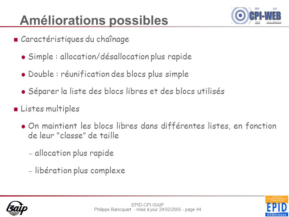 EPID-CPI-ISAIP Philippe Bancquart - mise à jour 24/02/2005 - page 44 Améliorations possibles Caractéristiques du chaînage Simple : allocation/désalloc