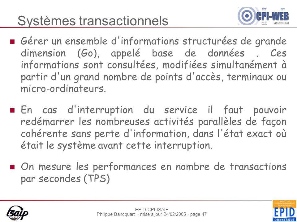 EPID-CPI-ISAIP Philippe Bancquart - mise à jour 24/02/2005 - page 47 Systèmes transactionnels Gérer un ensemble d'informations structurées de grande d