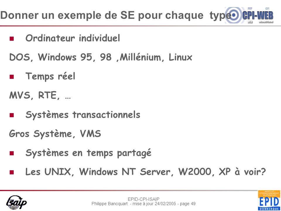 EPID-CPI-ISAIP Philippe Bancquart - mise à jour 24/02/2005 - page 49 Donner un exemple de SE pour chaque type Ordinateur individuel DOS, Windows 95, 9