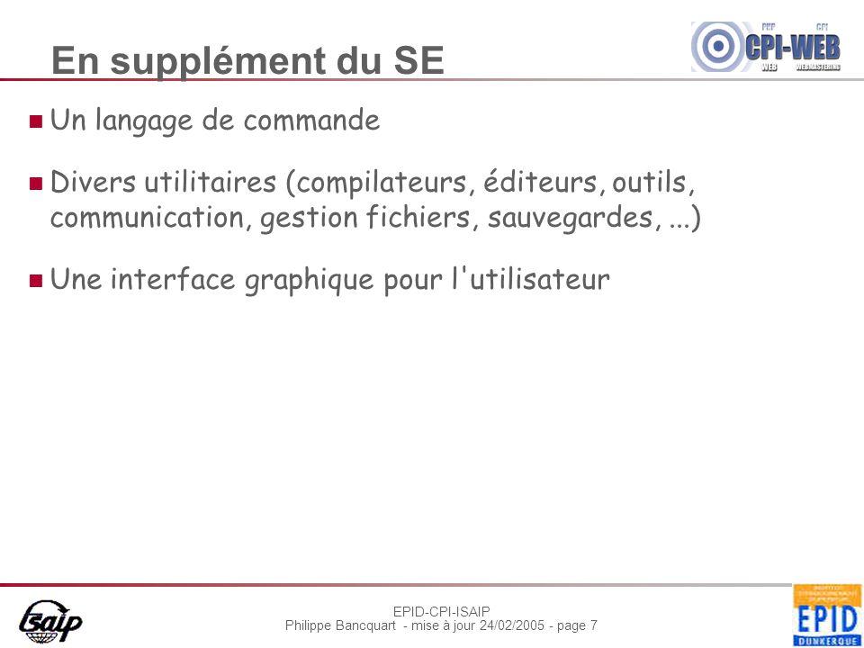 EPID-CPI-ISAIP Philippe Bancquart - mise à jour 24/02/2005 - page 18 Gérer l'interruption Être complètement transparente au programme en cours - au moins pour une E/S Attente de la fin de l'instruction en cours Sauvegarde : registres, pile, indicateurs d'état, pointeur d'instruction Un code spécifique gère l'interruption Peut-on interrompre ce code .