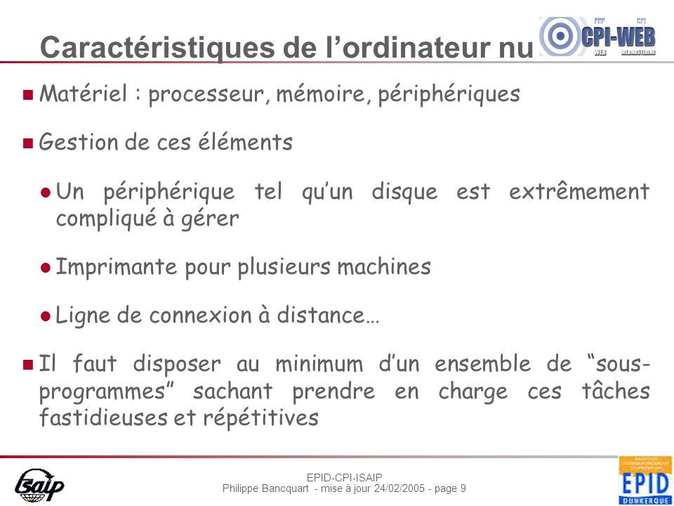 EPID-CPI-ISAIP Philippe Bancquart - mise à jour 24/02/2005 - page 40 malloc(), free() Allocation dynamique de mémoire dans le tas Fournir un bloc de mémoire de la taille demandée, situé à une adresse mémoire convenable void * malloc(size_t size); Prise en compte des particularités d'adressage du processeur Libérer un bloc de mémoire void free(void * ptr); ptr doit être null ou l'adresse d'un bloc fourni par malloc