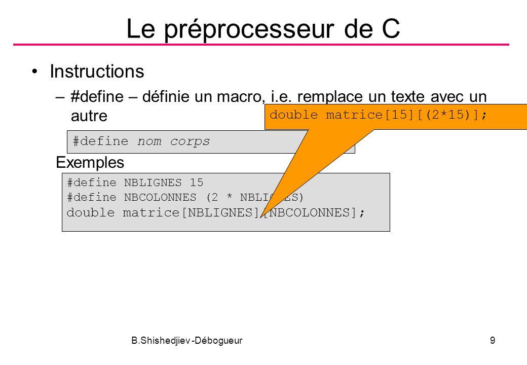 B.Shishedjiev -Débogueur10 Le préprocesseur de C Instructions –Compilation conditionnelle #if, #elif, #else, #endif #ifdef, #ifndef defined #if expression #ifdef identificateur #ifndef identificateur...
