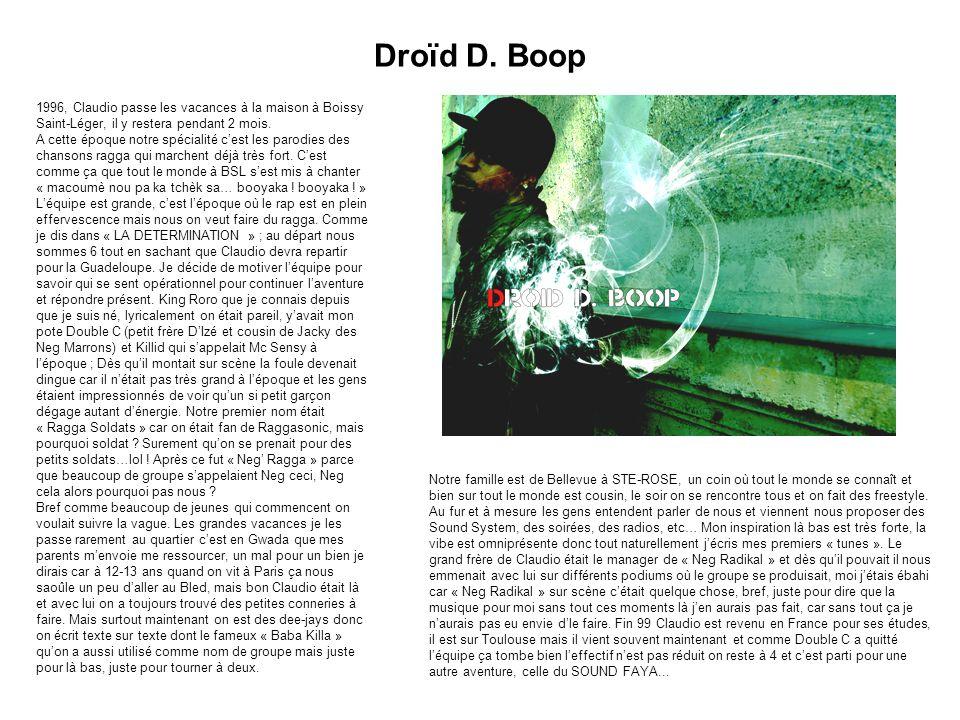 Droïd D. Boop 1996, Claudio passe les vacances à la maison à Boissy Saint-Léger, il y restera pendant 2 mois. A cette époque notre spécialité c'est le
