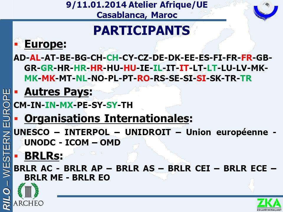 RILO – WESTERN EUROPE 9/11.01.2014 Atelier Afrique/UE Casablanca, Maroc PARTICIPANTS  Europe: AD-AL-AT-BE-BG-CH-CH-CY-CZ-DE-DK-EE-ES-FI-FR-FR-GB- GR-GR-HR-HR-HR-HU-HU-IE-IL-IT-IT-LT-LT-LU-LV-MK- MK-MK-MT-NL-NO-PL-PT-RO-RS-SE-SI-SI-SK-TR-TR  Autres Pays: CM-IN-IN-MX-PE-SY-SY-TH  Organisations Internationales: UNESCO – INTERPOL – UNIDROIT – Union européenne - UNODC - ICOM – OMD  BRLRs: BRLR AC - BRLR AP – BRLR AS – BRLR CEI – BRLR ECE – BRLR ME - BRLR EO