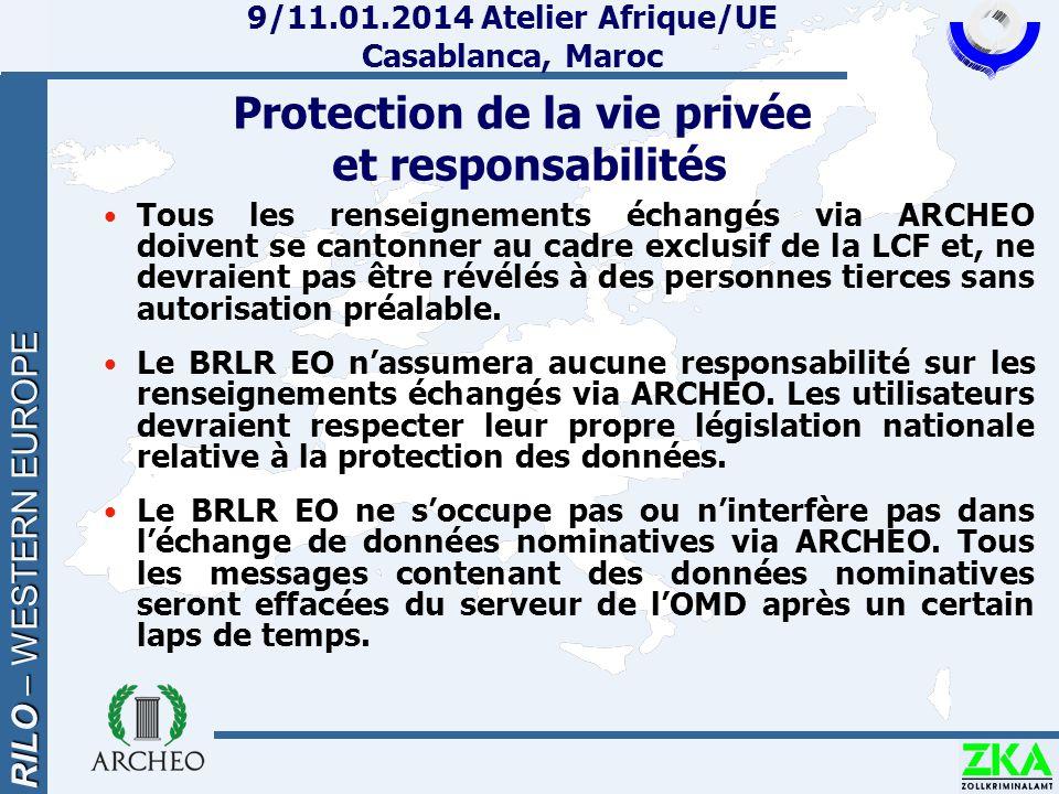 RILO – WESTERN EUROPE 9/11.01.2014 Atelier Afrique/UE Casablanca, Maroc Protection de la vie privée et responsabilités Tous les renseignements échangé