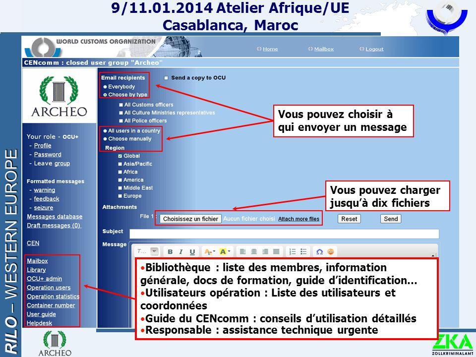 RILO – WESTERN EUROPE 9/11.01.2014 Atelier Afrique/UE Casablanca, Maroc Bibliothèque : liste des membres, information générale, docs de formation, gui