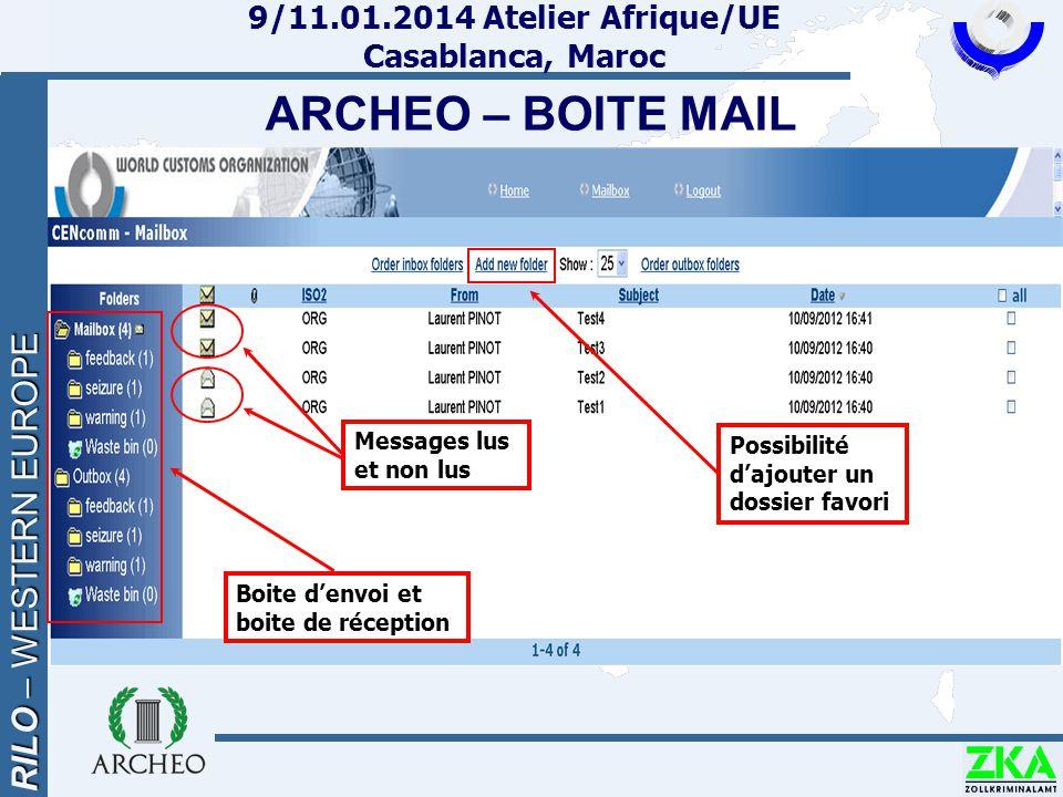RILO – WESTERN EUROPE 9/11.01.2014 Atelier Afrique/UE Casablanca, Maroc ARCHEO – BOITE MAIL Boite d'envoi et boite de réception Messages lus et non lu