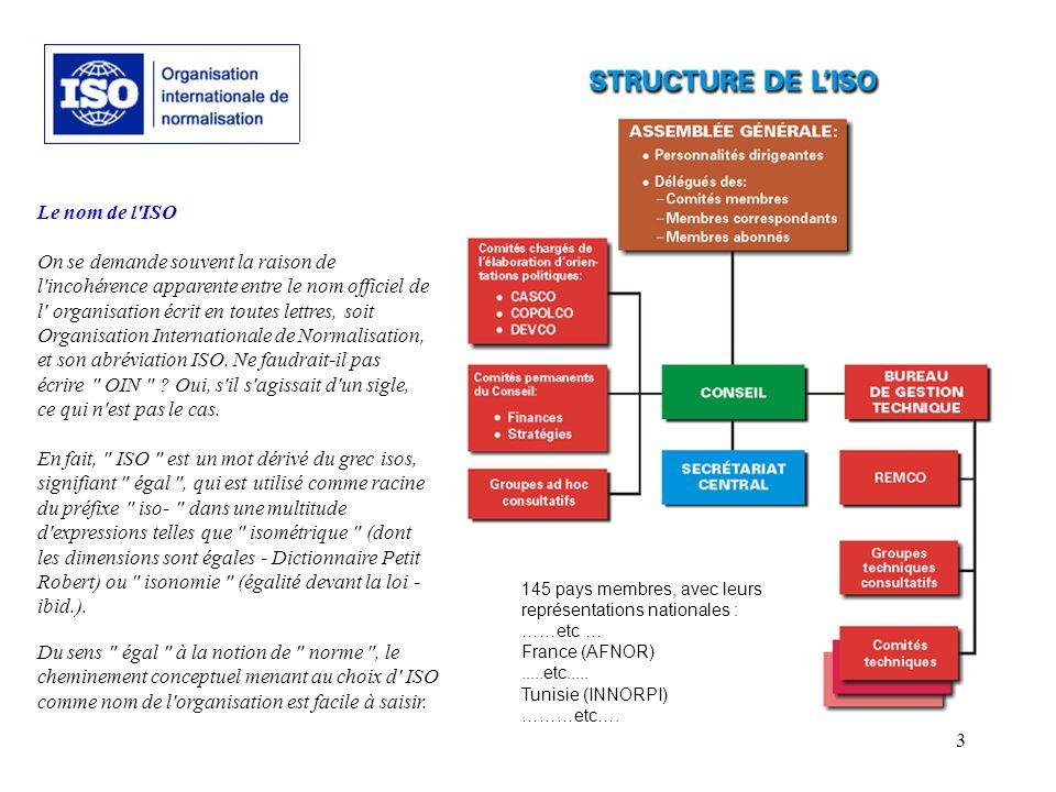 3 Le nom de l'ISO On se demande souvent la raison de l'incohérence apparente entre le nom officiel de l' organisation écrit en toutes lettres, soit Or