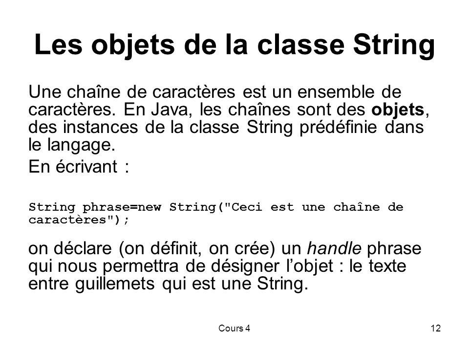 Cours 412 Les objets de la classe String Une chaîne de caractères est un ensemble de caractères.