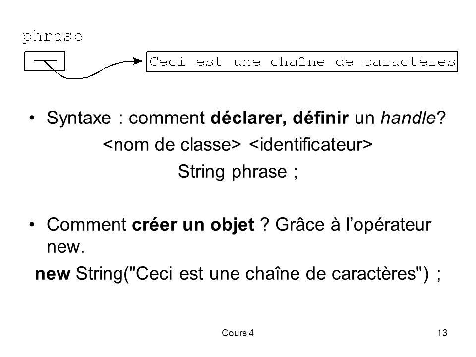 Cours 413 Syntaxe : comment déclarer, définir un handle.