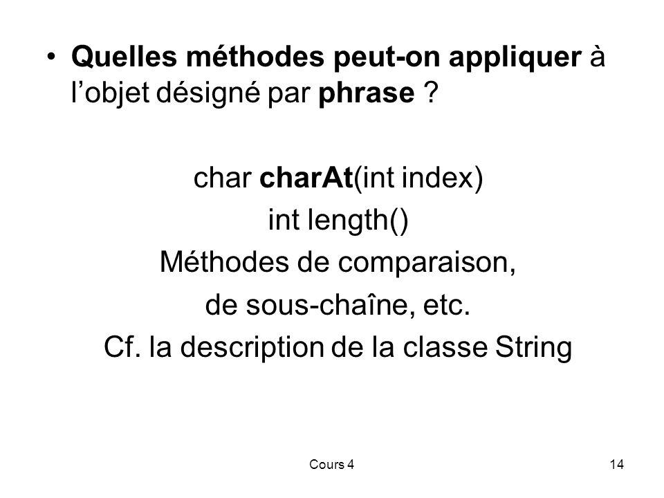 Cours 414 Quelles méthodes peut-on appliquer à l'objet désigné par phrase .