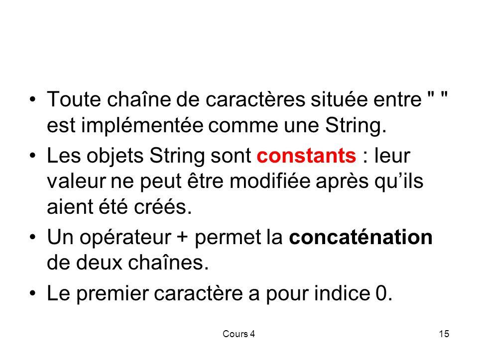 Cours 415 Toute chaîne de caractères située entre est implémentée comme une String.